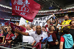May 27, 2019 - London, England, United Kingdom - Aston Villa fans celebrate after they win the Play Off final during the Sky Bet Championship Play Off Final between Aston Villa and Derby County at Wembley Stadium, London on Monday 27th May 2019. (Credit Image: © Mi News/NurPhoto via ZUMA Press)