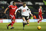 Derby County forward Andreas Weimann on the attack during the Sky Bet Championship match between Derby County and Cardiff City at the iPro Stadium, Derby, England on 21 November 2015. Photo by Aaron Lupton.