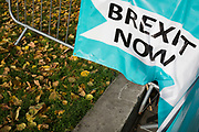 On the day that the UK was scheduled to leave the European Union and political parties commence campaigning for the General Election on December 12th, a Brexit Party banner is sen with Autumn leaves on College Green as Brexiters voice their anger outside the British parliament in Westminster, on 31st October 2019,