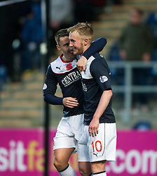 Falkirk's Craig Sibbald celebrates after scoring their third goal.<br /> Falkirk 4 v 1 Livingston, Scottish Championship game played today at the Falkirk Stadium.<br /> ©Michael Schofield.