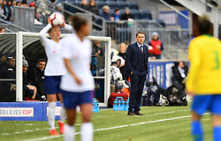 February 27, 2019 - Chester, PA, U.S. - CHESTER, PA - FEBRUARY 27: England Head Coach Phil Neville looks on during a thow-in in the first half during the She Believes Cup game between Brazil and England on February 27, 2019 at Talen Energy Stadium in Chester, PA. (Photo by Kyle Ross/Icon Sportswire) (Credit Image: © Kyle Ross/Icon SMI via ZUMA Press)