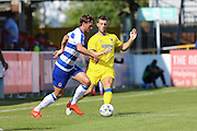 AFC Wimbledon defender Jon Meades (3) during the Pre-Season Friendly match between AFC Wimbledon and Reading at the Cherry Red Records Stadium, Kingston, England on 23 July 2016. Photo by Stuart Butcher.