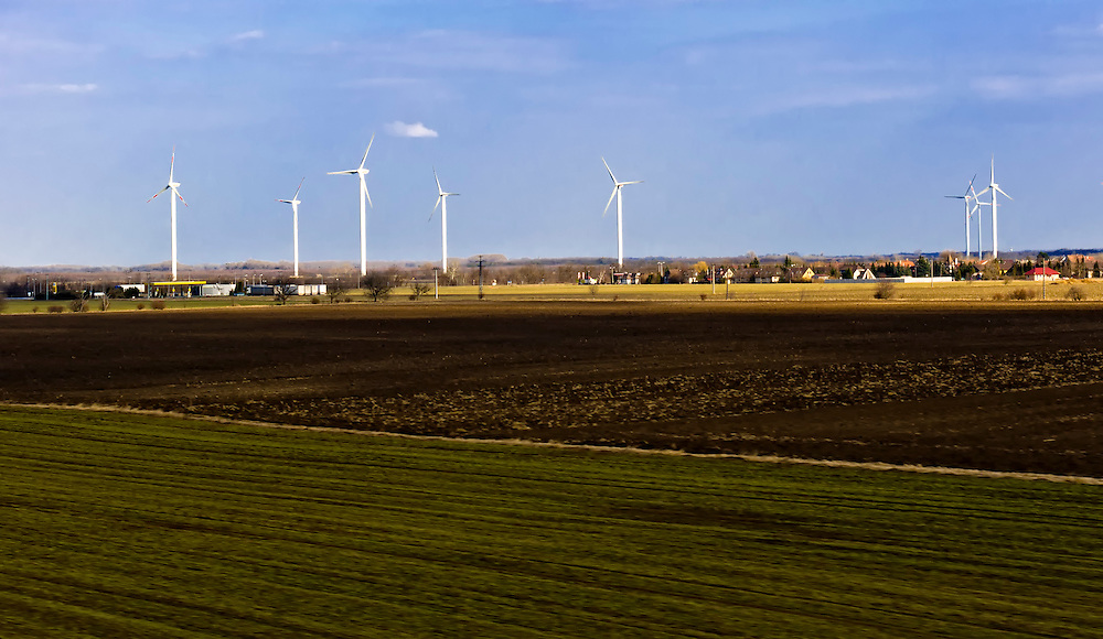 View of a windfarm in the countryside in Europe.