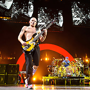 """WASHINGTON, DC -  May 8th, 2012 - Michael """"Flea"""" Balzary and Chad Smith of the Red Hot Chili Peppers perform at the Verizon Center in Washington, D.C. The band was inducted into the Rock N Roll Hall Of Fame earlier this year and released their 10th studio album, I'm With You, in late 2011. (Photo by Kyle Gustafson/For The Washington Post)"""
