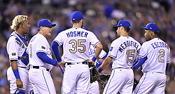 September 8, 2017 - Kansas City, MO, USA - Kansas City Royals manager Ned Yost waits with the infield after relieving pitcher Trevor Cahill in the fifth inning against the Minnesota Twins at Kauffman Stadium in Kansas City, Mo., on Friday, Sept. 8, 2017. (Credit Image: © John Sleezer/TNS via ZUMA Wire)
