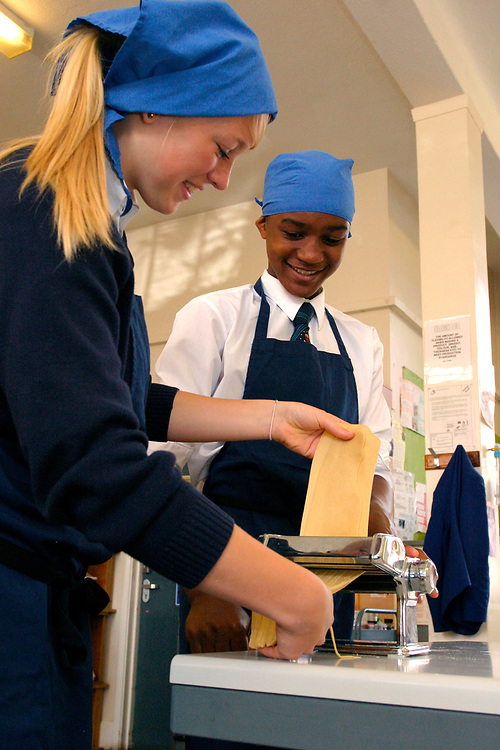 Hockerill Anglo-European College; grant maintained specialist language college, UK 2008, About one third of the pupils are boarders, In the sixth form students study the International Baccalaureate Diploma, Food technology class