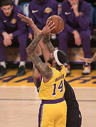 January 24, 2019 - Los Angeles, California, U.S - Brandon Ingram #14 of the Los Angeles Lakers puts up a shot during their NBA game with the Minneapolis Timberwolves on Thursday January 24, 2019 at the Staples Center in Los Angeles, California. Lakers lose to Timberwolves, 105-120. (Credit Image: © Prensa Internacional via ZUMA Wire)