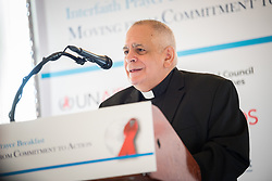 13 September 2017, New York, USA: On Gathering at the Yale Club in New York on 13 September for an interfaith prayer breakfast, faith leaders from a multitude of religions came together to support a coordinated faith-based effort in responding to HIV. The event was hosted by the World Council of Churches–Ecumenical Advocacy Alliance (WCC-EAA) in collaboration with UNAIDS, the United States President's Emergency Plan for AIDS Relief and the United Nations Interagency Task Force on Religion and Development on the side-lines of the 72nd session of the United Nations General Assembly. Here, Robert (Bob) Vitillo from the International Catholic Migration Commission.