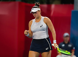 October 9, 2018 - Caroline Dolehide of the United States in action during her first-round match at the 2018 Prudential Hong Kong Tennis Open WTA International tennis tournament (Credit Image: © AFP7 via ZUMA Wire)