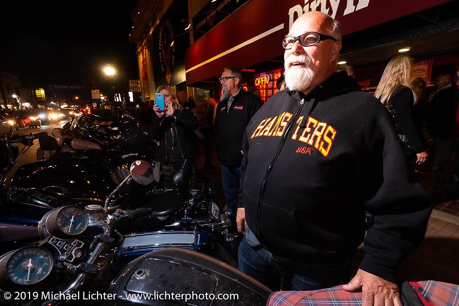 Dave Perewitz on Main Street at night during Daytona Bike Week. Daytona Beach, FL. USA. Thursday March 15, 2018. Photography ©2018 Michael Lichter.
