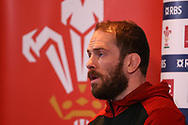 Alun Wyn Jones, the captain of Wales speaks to the press during the Wales Rugby team announcement press conference at the Vale Resort, Hensol near Cardiff, South Wales on Wednesday 8th March 2017. The team are preparing for the the RBS Six nations match against Ireland.  pic by  Andrew Orchard, Andrew Orchard sports photography.