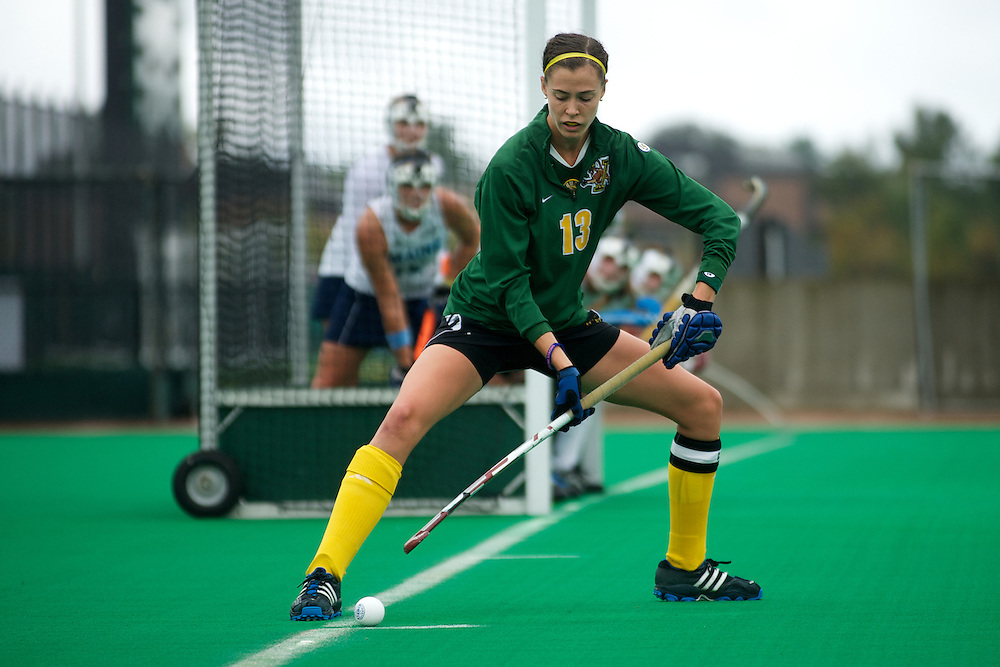 Catamounts midfielder Alana Izzo (13) gets ready for a corner during the women's field hockey game between the Maine Black Bears and the Vermont Catamounts at Moulton/Winder Field on Saturday afternoon September 29, 2012 in Burlington, Vermont.