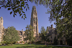 Yale University Campus, Harkness Tower and the Branford College Quad at the end of August. Student's hanging out. No recognizable faces. Photo Credit: James R Anderson
