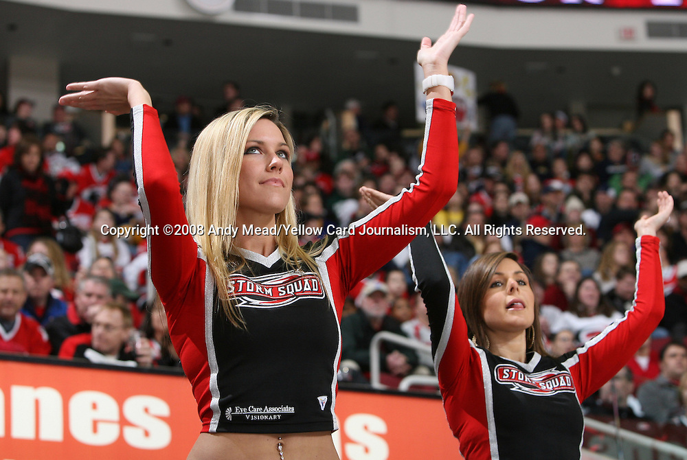 08 March 2008: Members of the Storm Squad, Carolina's cheerleaders. The Carolina Hurricanes defeated the Buffalo Sabres 4-3 in overtime at the RBC Center in Raleigh, NC in a 2007-08 National Hockey League regular season game.