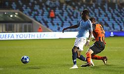 Manchester City U19's Rabbi Matondo is founded for a penalty by Shakhtar Donetsk's Nazarii Muravskyi