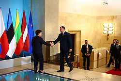 September 5, 2017 - Warsaw, Poland - Prime Ministers of Lithuania Saulius Skvernelis and of Latvia Maris Kucinskis arrived together with Estonian ambassador Harri Tiido for official visit of Baltic states to Primer Beata Szydlo  in Warsaw. (Credit Image: © Jakob Ratz/Pacific Press via ZUMA Wire)