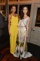 Left to right, YASMIN EVANS and BETTY BACHZ at a dinner to celebrate 20 years of Maria Grachvogel's fashion label held at Salmontini, 1 Pont Street, London on 22nd October 2014.