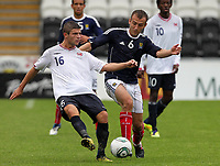 Football - International Under 21 Friendly - Scotland U21 vs. Norway U21<br /> <br /> Scotland vs Norway U21<br /> International Challenge Match, New St Mirren Park, Paisley.<br /> Velon Berisha of Norway competes with Liam Kelly of Scotland.<br /> 10th August 2011<br /> <br /> Ian MacNicol/Colorsport