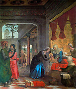 Juan de Borgoña (c.1470 - 1534). High Renaissance painter born in the Duchy of Burgundy. Active in Spain from about 1495 to 1534. 'The Birth of the Virgin', fresco by Juan de Borgoña, Cathedral of Toledo, c. 1495