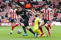 Burnley's Chris Wood gets clear but can't gather the ball<br /> <br /> Photographer Alex Dodd/CameraSport<br /> <br /> The Premier League - Sheffield United v Burnley - Sunday 23rd May 2021 - Bramall Lane - Sheffield<br /> <br /> World Copyright © 2021 CameraSport. All rights reserved. 43 Linden Ave. Countesthorpe. Leicester. England. LE8 5PG - Tel: +44 (0) 116 277 4147 - admin@camerasport.com - www.camerasport.com