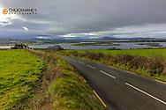 Samll road over Drongawn Lough on the Fanad Peninsula, Ireland