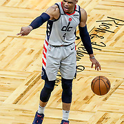 ORLANDO, FL - APRIL 07: Russell Westbrook #4 of the Washington Wizards gives directions to teammates against the Orlando Magic during the second half at Amway Center on April 7, 2021 in Orlando, Florida. NOTE TO USER: User expressly acknowledges and agrees that, by downloading and or using this photograph, User is consenting to the terms and conditions of the Getty Images License Agreement. (Photo by Alex Menendez/Getty Images)*** Local Caption *** Russell Westbrook