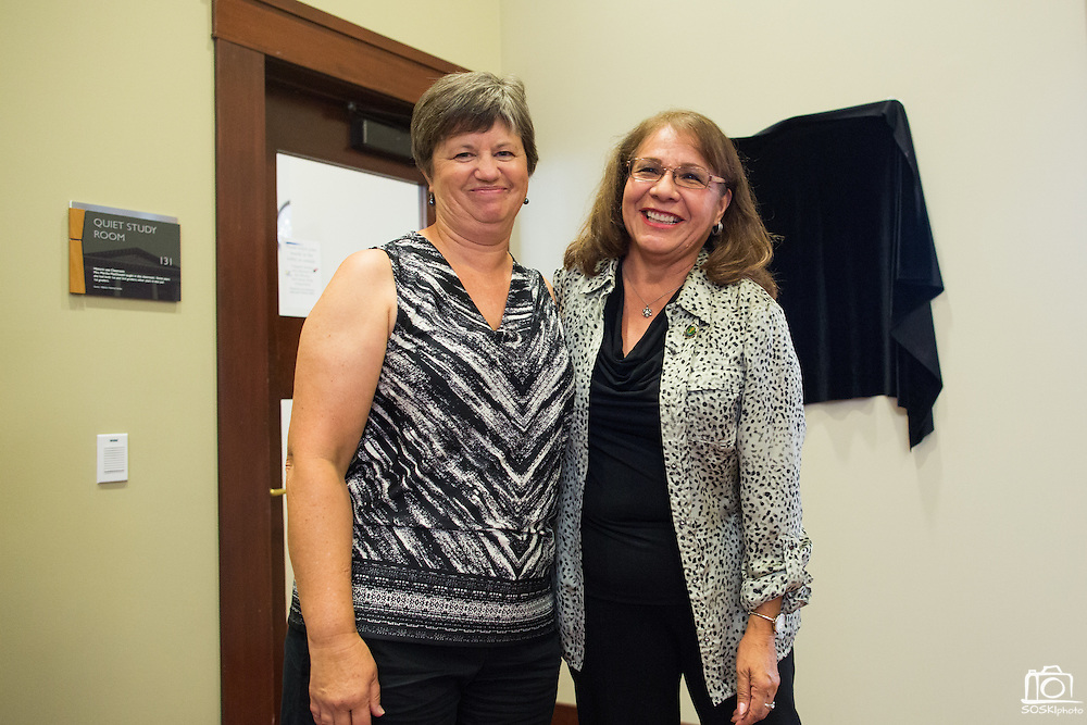 Milpitas Vice Mayor Carmen Montano, right, poses for a photo with Austa Falconer, left, during the Rotary Club Leo B. Murphy Award ceremony for MUSD Teacher of the Year at the Milpitas Public Library in Milpitas, California, on August 31, 2015. (Stan Olszewski/SOSKIphoto)