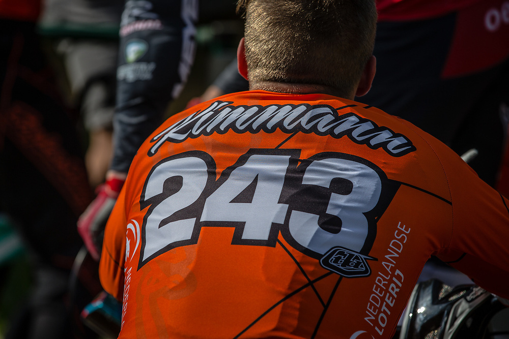 #243 (KIMMANN Justin) NED during practice at Round 5 of the 2018 UCI BMX Superscross World Cup in Zolder, Belgium
