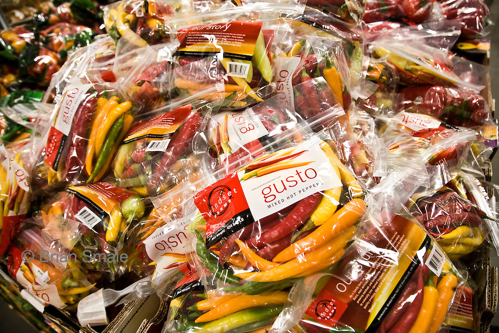 Hot Peppers, sold by Costco Wholesale.  Photographed by Brian Smale in Seattle, for BusinessWeek Magazine.