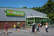 Social distancing queue at the home and outdoor store Homebase garden centre under Coronavirus lockdown on 21st May 2020 in Birmingham, England, United Kingdom. DIY shops have been allowed to be open for the last few days and flocks of people have queued at them to buy home and garden goods. Coronavirus or Covid-19 is a new respiratory illness that has not previously been seen in humans. While much or Europe has been placed into lockdown, the UK government has put in place more stringent rules as part of their long term strategy, and in particular social distancing.