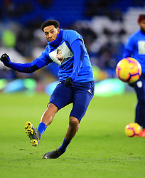 Cardiff City's Nathaniel Mendez-Laing warms up ahead of the match whilst wearing a Emiliano Sala commemorative t-shirt during the Premier League match at the Cardiff City Stadium.