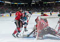 KELOWNA, CANADA - MAY 1: Anton Cederholm #2 of Portland Winterhawks back checks Nick Merkley #10 of Kelowna Rockets during third period as he tries to score on Adin Hill #31 of Portland Winterhawks on May 1, 2015 at Prospera Place in Kelowna, British Columbia, Canada.  (Photo by Marissa Baecker/Getty Images)  *** Local Caption *** Adin Hill; Anton Cederholm; Nick Merkley;