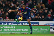 Antonio Valencia of Manchester Utd in action. Premier league match, Stoke City v Manchester Utd at the Bet365 Stadium in Stoke on Trent, Staffs on Saturday 21st January 2017.<br /> pic by Andrew Orchard, Andrew Orchard sports photography.