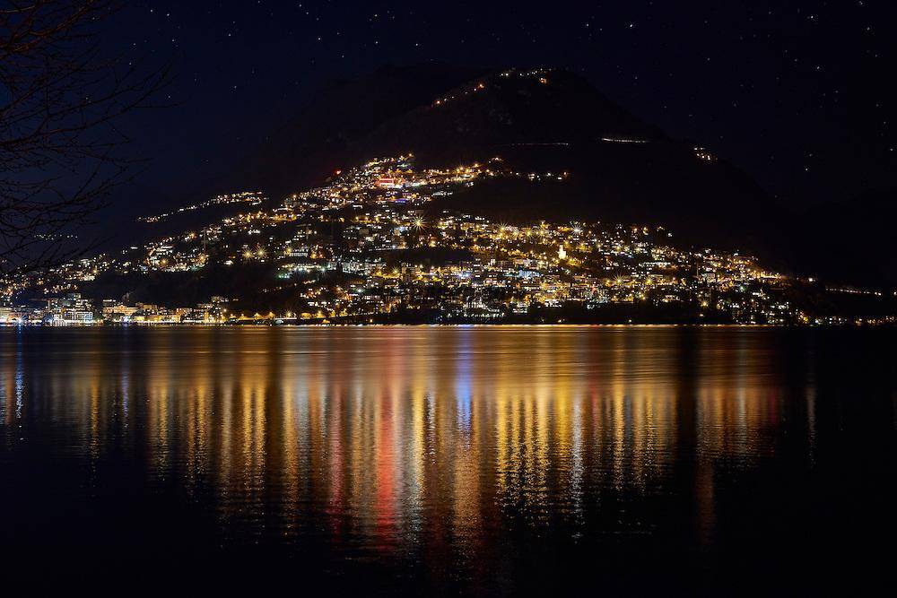 Monte Bre by night, photo taken from Paradiso Lugano, Ticino