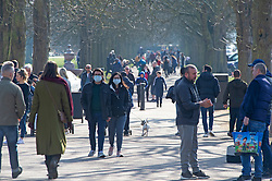 © Licensed to London News Pictures 27/02/2021.        Greenwich, UK. People out and about during a third national Coronavirus lockdown enjoying the sunny weather in Greenwich Park, London. Photo credit:Grant Falvey/LNP