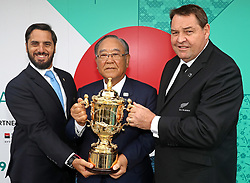KYOTO, JAPAN - MAY 10: (L-R) Agustin Pichot, Vice-Chairman of World Rugby, Fujio Mitarai, Chairman of the RWC 2019 Organising Committee and Steve Hansen, Head Coach of New Zealand pose with The William Webb Ellis Cup during the Rugby World Cup 2019 Pool Draw at the Kyoto State Guest House on May 10, in Kyoto, Japan. Photo by Dave Rogers - World Rugby/PARSPIX/ABACAPRESS.COM