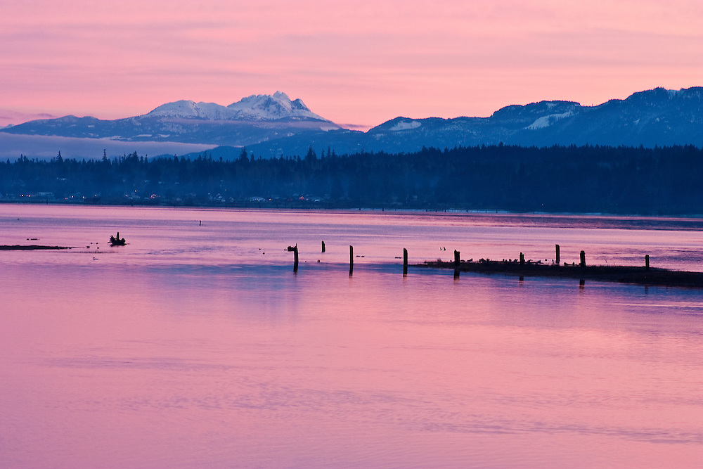 Mount Arrowsmith on Vancouver Island seen from Comox Inlet, at sunset