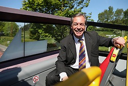 Nigel Farage on the Brexit Party bus during his visit to Pontefract, West Yorkshire, while on the European Election campaign trail. Picture dated: Monday May 13, 2019. Photo credit should read: Isabel Infantes / EMPICS Entertainment.