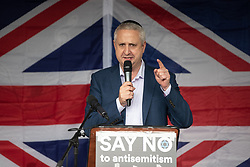 © Licensed to London News Pictures . 16/09/2018. Manchester, UK. IVAN LEWIS MP . Thousands of people including the UK's Chief Rabbi and several Members of Parliament attend a demonstration against rising anti-Semitism in British politics and society , at Cathedral Gardens in Manchester City Centre . Photo credit : Joel Goodman/LNP