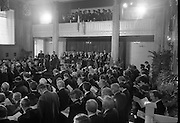 Inaugeration of President Hillery..1983.03.12.1983.12.03.1983.3rd December 1983...Dignitaries from home and abroad attended the Inaugeration of Patrick Hillery, as president of Ireland. the ceremony took place at St Patrick's Hall,Dublin Castle...Photograph of the interior of St Patrick's Hall taken during the ceremony..The Garda Band in position in the gallery.