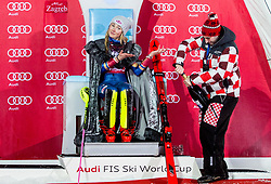 """Winner and Snow Queen 2018 Mikaela Shiffrin (USA) with a men help opening a champagne at Trophy ceremony after 2nd Run of FIS Alpine Ski World Cup 2017/18 Ladies' Slalom race named """"Snow Queen Trophy 2018"""", on January 3, 2018 in Course Crveni Spust at Sljeme hill, Zagreb, Croatia. Photo by Vid Ponikvar / Sportida"""