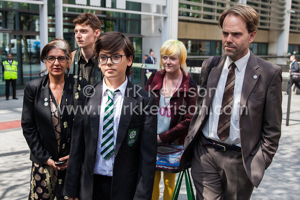 London, UK. 30th April 2019. Climate change activists from Extinction Rebellion (l-r) Farhana Yamin, Sam Knights, Clare Farrell, Felix Ottaway O'Mahony and Rupert Read leave the Home Office after attending a meeting hosted by the Secretary of State for the Environment Michael Gove.