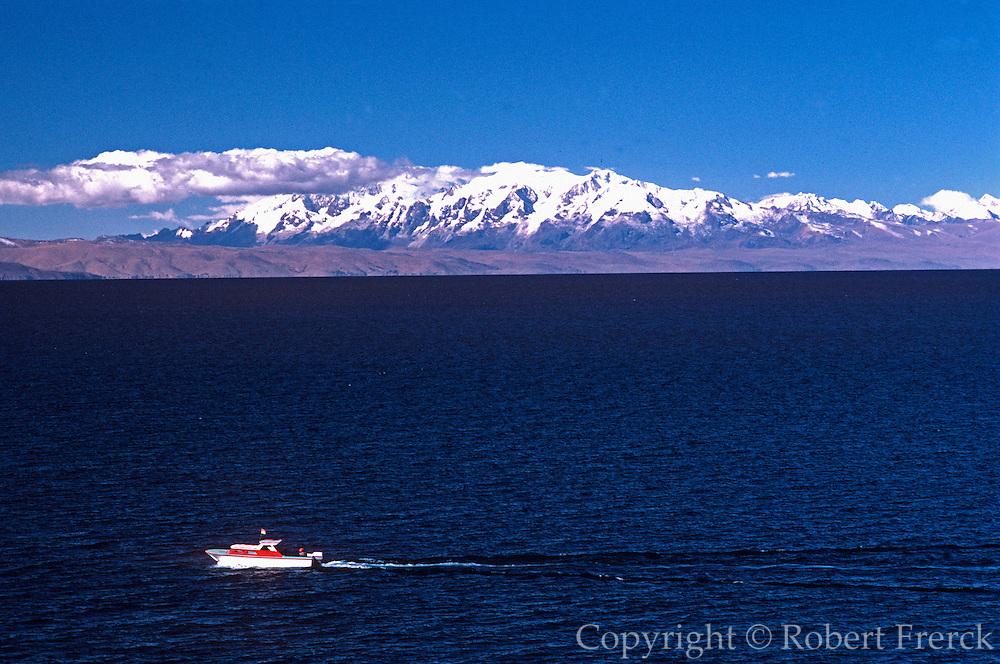 PERU, LAKE TITICACA looking across lake to Bolivia's Eastern Cordillera Range