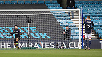 Football - 2018 / 2019 Emirates FA Cup - Sixth Round, Quarter Final : Millwall vs. Brighton<br /> <br /> Matthew Ryan (Brighton & Hove Albion) celebrates as his team go though to the semi final as Jake Cooper (Millwall FC) holds his face at The Den.<br /> <br /> COLORSPORT/DANIEL BEARHAM