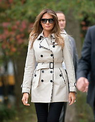 First lady Melania Trump as she accompanies her husband, United States President Donald J. Trump, on a tour of the US Secret Service James J. Rowley Training Center in Beltsville, Maryland on Friday, October 13, 2017.<br /> (Photo by Ron Sachs/CNP/Sipa USA)