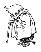 (Mole in smock with walking stick - illustration).