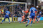 scramble in the Millwall box during the The FA Cup 5th round match between AFC Wimbledon and Millwall at the Cherry Red Records Stadium, Kingston, England on 16 February 2019.