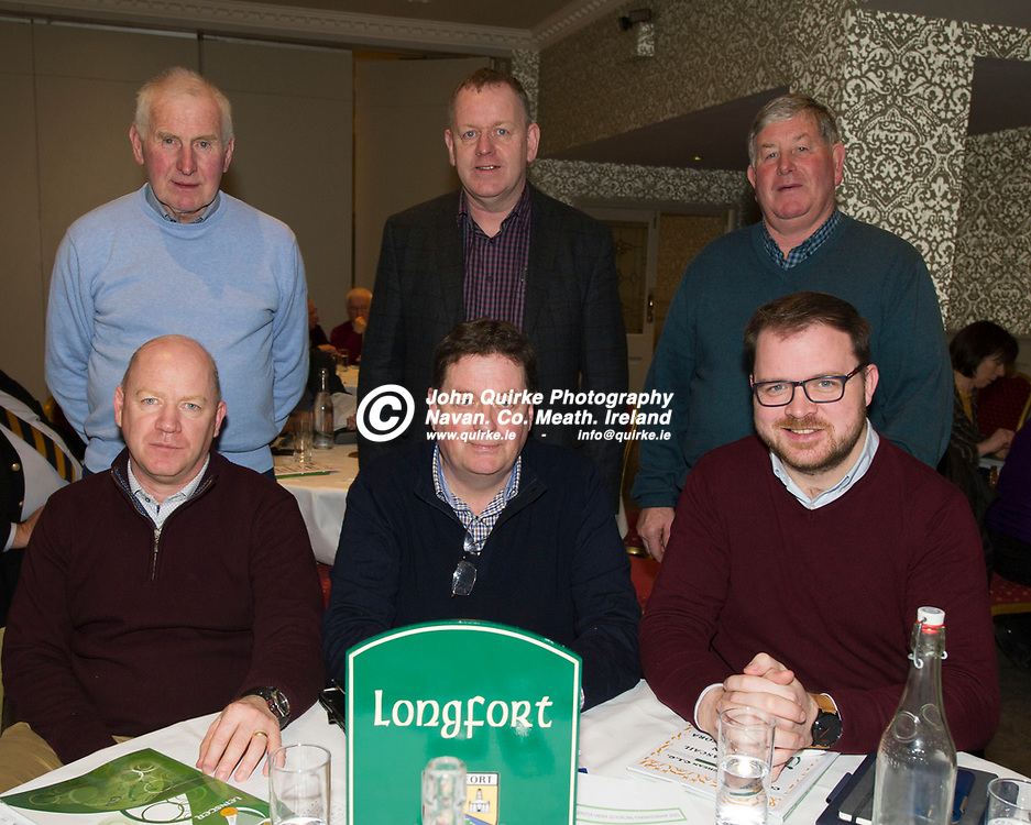25-01-19. Leinster GAA Annual Convention 2018 at the Knightsbrook Hotel, Trim.<br /> Longford Delegates in attendance at the Leinster GAA Convention L to R.<br /> Back: Eugene Quaine, Treasurer. Peter O'Reilly, Secretary. Sean Hannon.<br /> Front: Derek Fahy, Albert Cooney, Chairman and Colm Murray, Vice Chairman.<br /> Photo: John Quirke / www.quirke.ie<br /> ©John Quirke Photography, Unit 17, Blackcastle Shopping Cte. Navan. Co. Meath. 046-9079044 / 087-2579454.