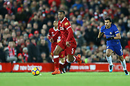 Georginio Wijnaldum of Liverpool makes a break. Premier League match, Liverpool v Chelsea at the Anfield stadium in Liverpool, Merseyside on Saturday 25th November 2017.<br /> pic by Chris Stading, Andrew Orchard sports photography.