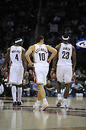 Ben Wallace, Wally Szczerbiak and LeBron James in their first game together.